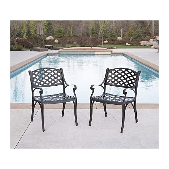 WE Furniture Cast Aluminum Patio Chairs (Set of 2), Antique Bronze - Powder-coated cast aluminum Elegant, antique bronze finish Beautiful wicker style design - patio-furniture, patio-chairs, patio - 51GhLHPj9EL. SS570  -