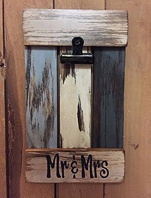 PHOTO HOLDER Shutter / Pallet Wall Wood Wedding Picture Frame Reclaimed - MR & MRS Bride & Groom