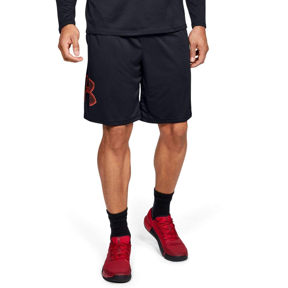 Under Armour Men's Tech Graphic Shorts, Black (002)/Beta Red, Small by Under Armour