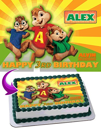 Alvin and the Chipmunks Edible Cake Topper Personalized Birthday 1/4 Sheet Decoration Custom Sheet Party Birthday Sugar Frosting Transfer Fondant Image ~ Best Quality Edible Image for cake -