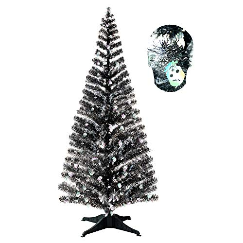 Halloween Indoor Decorations-5FT Pop Up Tinsel Branches Trees with Plump Skull Sequin,Collapsible Artificial Halloween Xmas Black Tree with Plastic Stand for Haunted House,Office Store Party Decor -
