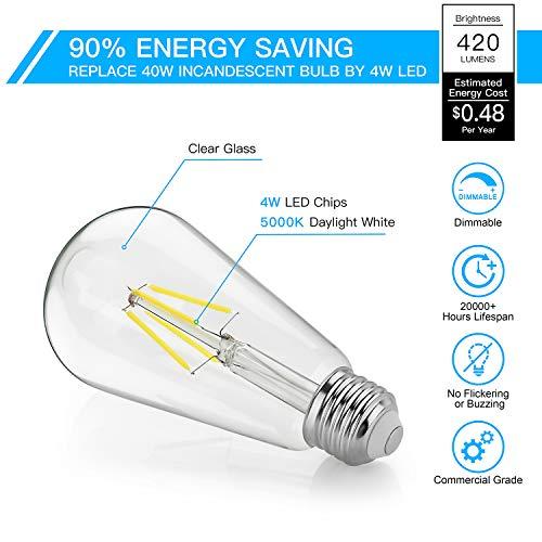 LED Edison Bulb Dimmable, Daylight White 5000K, SHINE HAI 4W ST64 Vintage LED Filament Light Bulbs, 40W Equivalent, E26 Medium Base, Pack of 12 by SHINE HAI (Image #4)