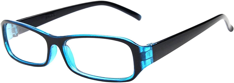 FancyG Vintage Inspired Classic Rectangle Glasses Frame Eyewear Clear Lens - Blue: Clothing