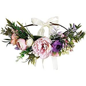 Valdler Exquisite Flower Crown Flower Headband for Spring Tourism Wedding Festivals Party Perfect Mother's Day Gifts 14