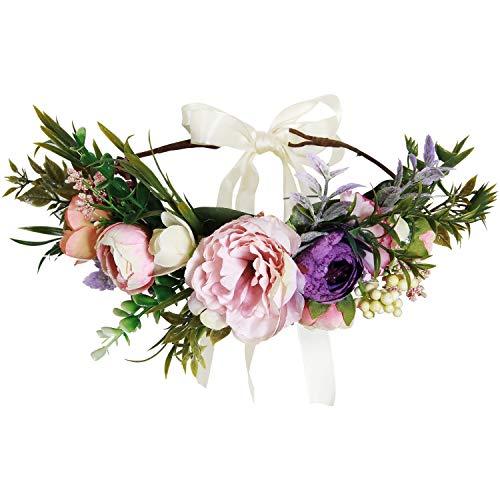 Valdler Artificial Floral Crown Roses Headband for Festivals Party Pink -