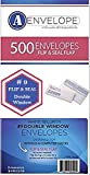 Compuchecks #9 Double Window Self Seal/Flip/Stick White Security  Envelopes, 8'' 7/8 X 3'' 7/8, 500 Count