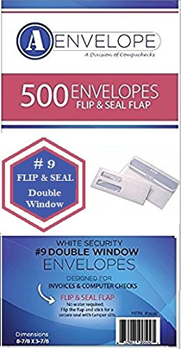 (Compuchecks #9 Double Window Self Seal/Flip/Stick White Security  Envelopes, 8