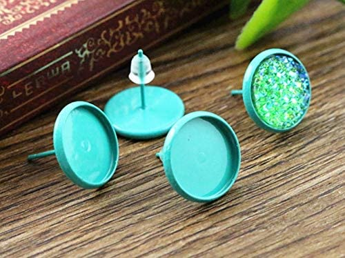 Kamas 12mm 20pcs Turquoise green Color Plated Earring Studs,Earrings Blank//Base,Fit 12mm Glass Cabochons,Buttons; L2-06