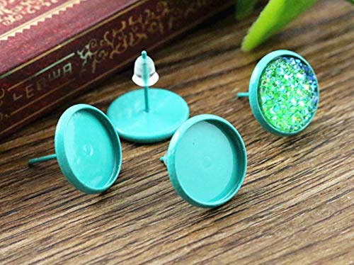 Kamas 12mm 20pcs Turquoise Green Color Plated Earring Studs,Earrings Blank/Base,Fit 12mm Glass Cabochons,Buttons;(L2-06) ()