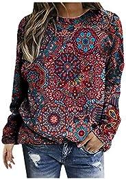 Simayixx Women's Casual Retro Vintage Tye Die Print Long Sleeve Pullover Tops Lightweight Sweatshirt Crewn
