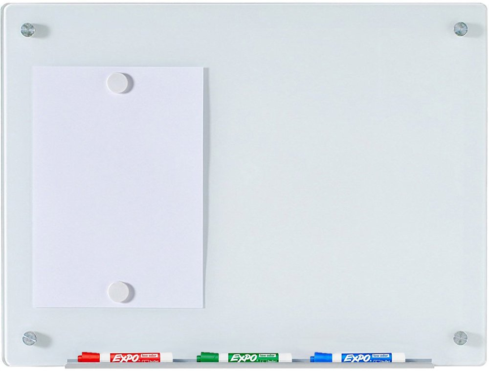 "Magnetic Glass Dry-Erase Board Set - 17 3/4"" x 23 5/8"" - Includes Board, 2 Magnets, and Aluminum Marker Tray"