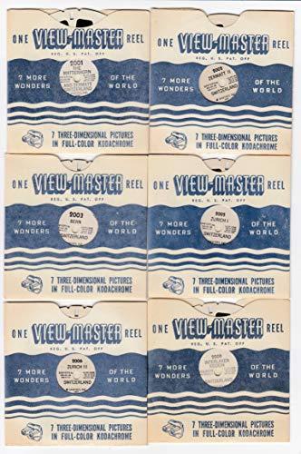 - View Master Switzerland Group of 12 Vintage c. 1948 Sawyer's Reels Matterhorn Zermatt Bern Zurich Interlaken Lugano Locarno Geneva ST. Moritz BASLE Lucerne Swiss Cheese