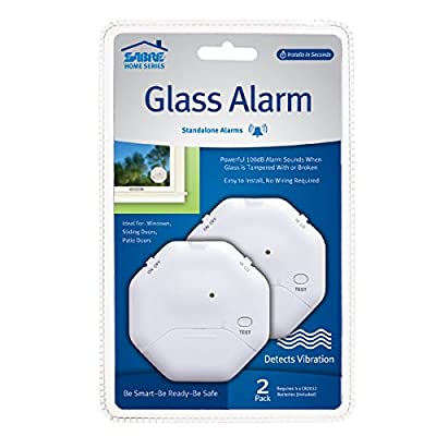 SABRE Wireless Window Glass Break & Vibration Detector Alarm with Security Warning Decal