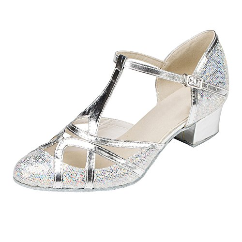 - Minishion Women's T-Strap Silver Glitter Salsa Tango Ballroom Latin Dance Shoes Wedding Pumps 8 US