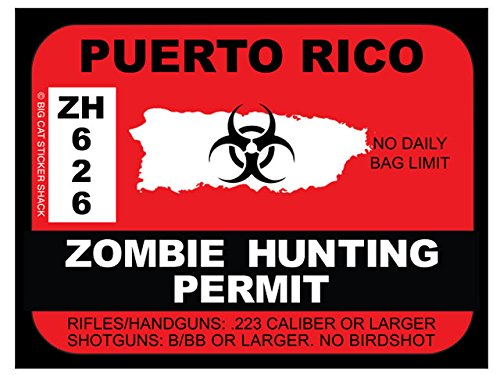 Puerto Rico Zombie Hunting Permit (Bumper Sticker) (Puerto Hunting Rico)