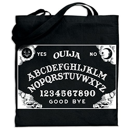 - Pins & Bones Gothic Clothing Ouija Board Tote Bag Horror Black Cotton Carry All Bag