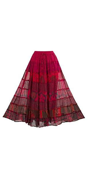 03c485784 Coline Falda Bohemia de espíritu Largo (Rojo, Talla única): Amazon ...