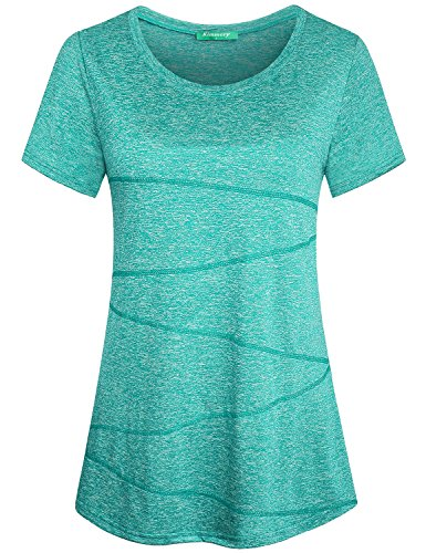 Kimmery Fitness Yoga Shirts Tops for Women Juniors Round Neck Primary Yoga T Shirts Short Sleeve Casual Hipster Fashion Seamless Stitching Blouses Tunic and Tees Light Green (Wash Hipster Jean)