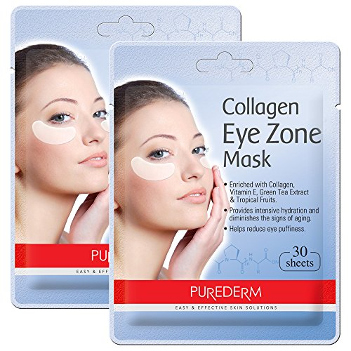 51GhP5TPkZL - Deluxe Collagen Eye Mask Collagen Pads For Women By Purederm 2 Pack Of 30 Sheets/Natural Eye Patches With Anti-aging and Wrinkle Care Properties/Help Reduce Dark Circles and Puffiness