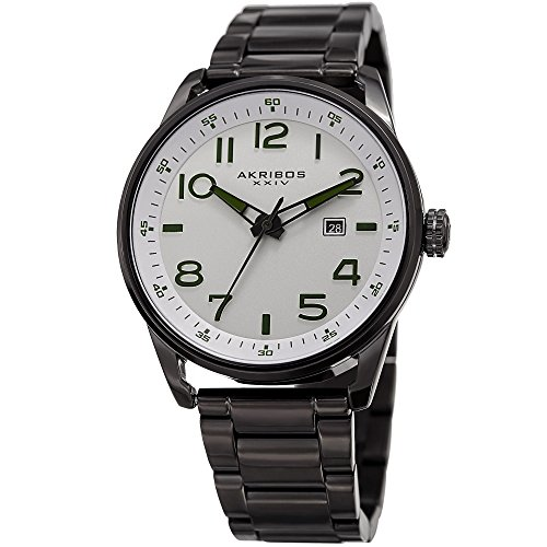Akribos XXIV Men's Quartz Stainless Steel Casual Watch, Color:Black (Model: AK956SS)