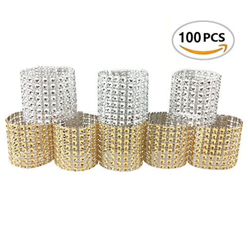 100PCS Rhinestone Napkin Rings Diamond Decoration for Wedding Party Banquet Reception Catering by CSPRING (For Rings Napkins)