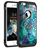 BENTOBEN iPhone SE Case, iPhone 5S Case, iPhone 5 Case, Shockproof Dual Layer Glow in The Dark Noctilucent Hybrid Hard PC Soft TPU Bumper Protective Phone Cover for iPhone SE/5S/5, Mandala in Galaxy