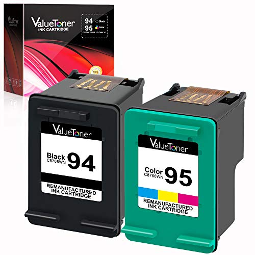 Valuetoner Remanufactured Ink Cartridges Replacement for HP 94 & 95 C9354BN C8765WN C8766WN for Officejet 150 100 H470 9800 7310 7210, Deskjet 460, PSC 1610 2355, 2 Pack (1 Black, ()