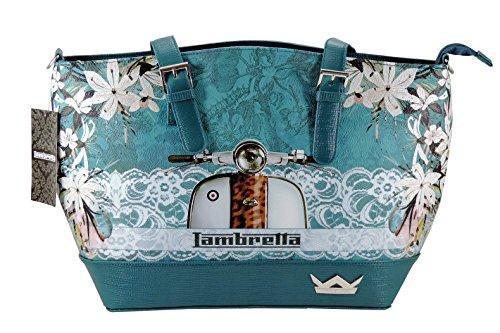 Borsa Donna LAMBRETTA con TRACOLLA e glitter modello a spalla e tracolla. VERDE