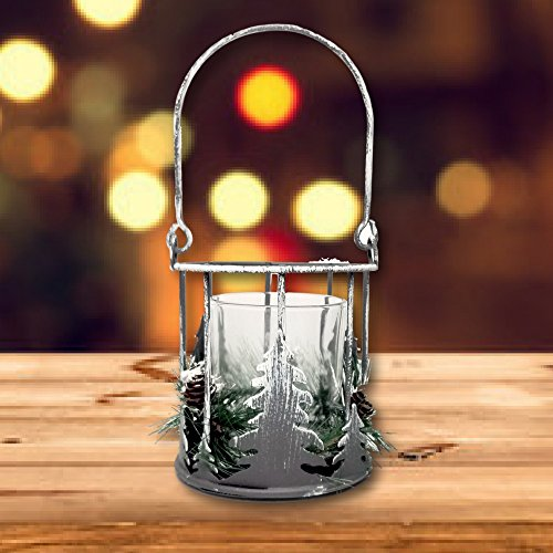 Pinecone Candle Holder - Metal Pine Tree Cut Outs with Flocked Greenery and Pine Cones - Glass Insert (Enchanted Forest Candle Holder)