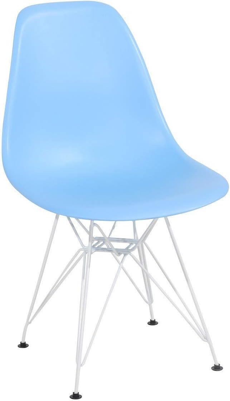 Grupo SDM Pack de 4 Sillas Tourent Patas Blancas, Azul Claro ...