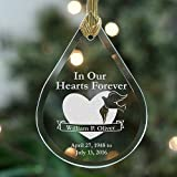 In Our Hearts Forever Tear Drop Glass Ornament, Personalized