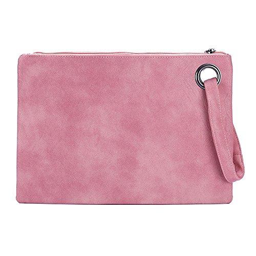 Mujeres Cuero de la PU Bolso de mano Embrague Bolso de noche Retro Bolso Sobre el paquete Tote Bag De gran tamaño Pulsera Bolso de mano Pink
