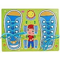 LittleHamlet Shoe Lace Tying Board Kids Wooden Puzzle Peg - Learn to Tie Your Shoelaces Educational Toy Blue Boy