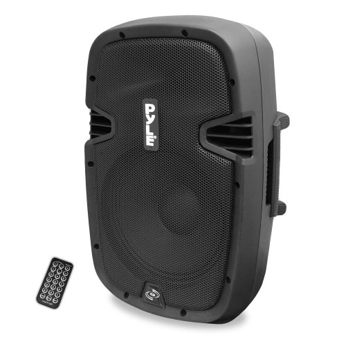 - Powered Active PA Loudspeaker Bluetooth System - 10 Inch Bass Subwoofer Monitor Speaker and Built-in USB for MP3 Amplifier, DJ Party Portable Sound Equipment Stereo Amp Sub for Concert Audio or Band Music- Pyle PPHP1037UB