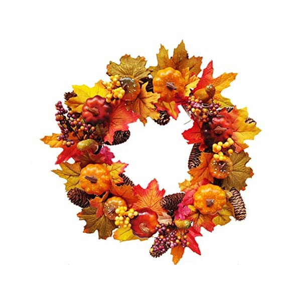 Artificial Flower Fall Wreath,(17 Inch) Autumn Maple Leaf Harvest Thanksgiving Door Wreath Front Door Pumpkins, Pinecone,Maple Leaf and Berry Ideal Autumn Halloween Thanksgiving Day