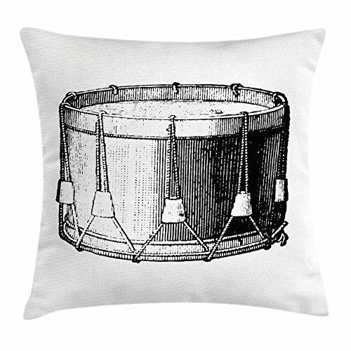 (Snare Drum Throw Pillow Cushion Cover, Vintage Illustration of Antique Instrument Historic Old Arts Melody Performance, Decorative Square Accent Pillow Case, 18 X 18 Inches, Black White)