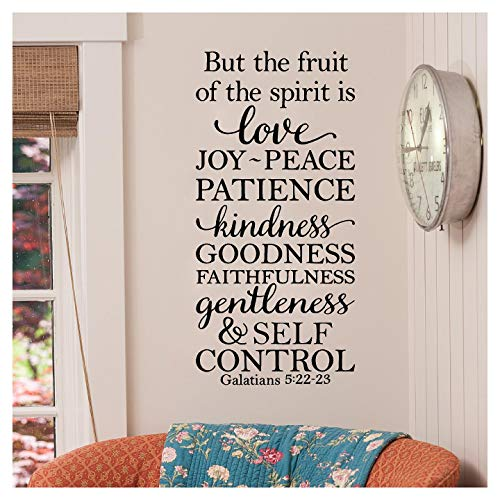 Lettering Sticker Decal Wall (But the Fruit of the Spirit is Love, Joy, Peace, Patience, Kindness, Goodness, Faithfulness...Galatians 5:22-23 Vinyl Lettering Wall Decal Sticker (26