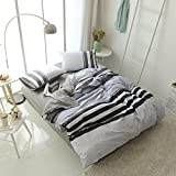 Modern Bedding Sets Queen Size Boy Cotton Duvet Cover Set Grey White Stripes Print Luxury Duvet Comforter Cover with 2 Pillowcases Soft Hotel Quality Printed 3 Pieces Bedding Collection Set for Boys