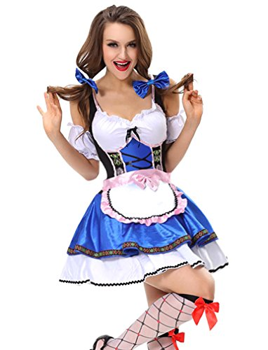 Lusiya Women's German Beer Beauty Maid Costume Fancy Dress Costume Blue Large/X-Large