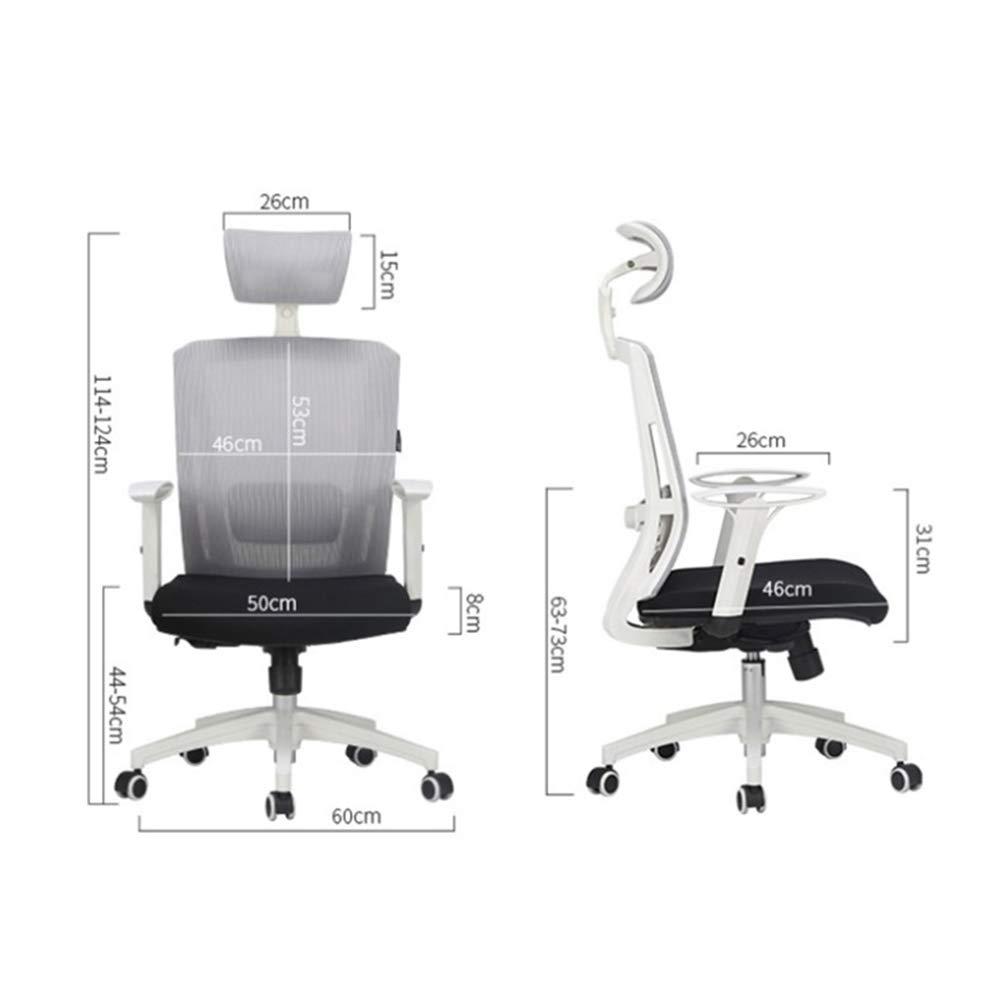 ZZHF Swivel stol, datorstol ergonomisk stol hem fritid stol nät svängbar stol kontorsstol lyftstolar, ryggstöd stol (färg: Vit) Vitt