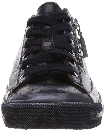 Diesel Expo Zip Noir Cuir Femmes Lo Baskets Chaussures