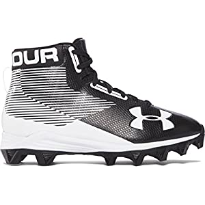 Under Armour Boy's Hammer Mid RM Jr. Football Cleats Wide Black/White Size 1 M US