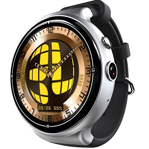 i4 AIR 1.39inch Amoled 3G Smart Watch Phone 2G 16G Camera WIFI GPS Heart Monitor (Silver/Black)