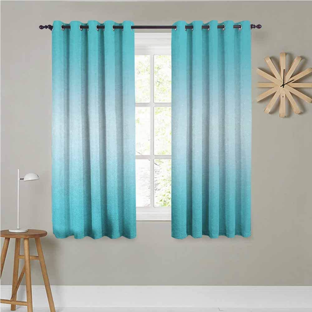 Ombre Grommet Curtains 55x63 INCH Open Blue Sky on a Spring Day Inspired Vivid Blue Colored Modern Nature Design Art Room Darkening, Noise Reducing Turquoise