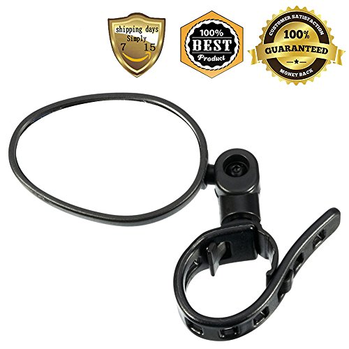 (MeanHoo 1 Pair Black Bicycle Rearview Mirror Cycle Accessories Rear View Mirror Safety Mirror Bicycle Parts Reflector Flat Cycling Handlebar)