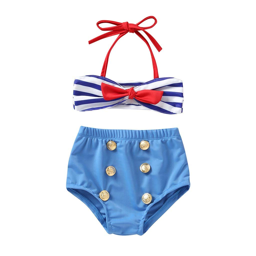 2Pcs Infant Kids Baby Girls Swimwear Straps Swimsuit Bathing Bikini Set Outfits