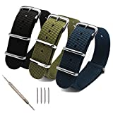 Top Plaza Premium Canvas Fabric Replacement Watch Bands Ballistic Nylon Straps Stainless Steel Buckle