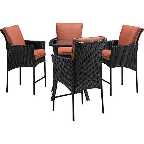Hanover Strathmere Allure 5-Piece High-Dining Set Brown/Woodland Rust STRALHBR5PCSQ-RST