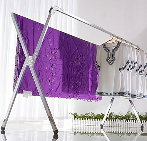 Indoor Clothesline (Laundry Drying Rack Chrome Foldable Indoor and Outdoor Use Folds Flat Easy Storage)