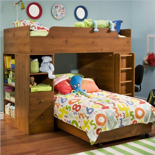 (Twin Over Twin L-shaped Wood Loft Bunk Bed In Sunny Pine Finish)
